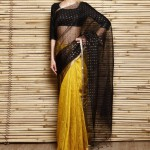 Black Muslin and Yellow Matka Silk Saree from IndianRoots