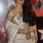 Actress Rekha wearing Off White Silk Saree