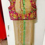 Cream Kota Silk Saree with Green Border