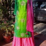 Parrot Green Chudidar with Pink Sharara