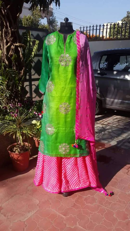parrote green chudidar with pink sharara