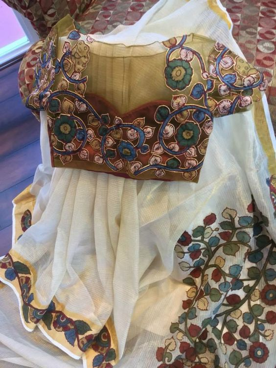 off white kota silk saree with pen kalamkari blouse
