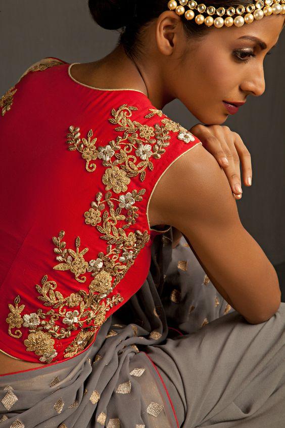 zardosi work on blouse back side perniapopupshop