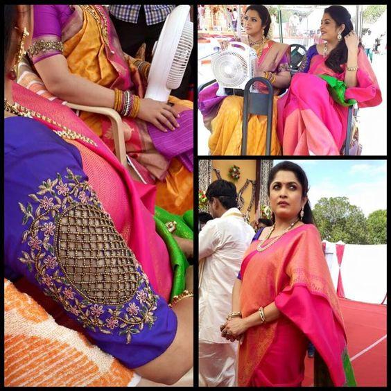 actress ramya krishna in designer cut work blouse