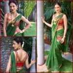 Leaf Green Chanderi Saree with Bustier Blouse