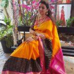 Sneha Sister Sangeeta in Mango Yellow Kanjivaram Pattu Saree