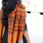 Orange Chanderi Dupatta with Block Print