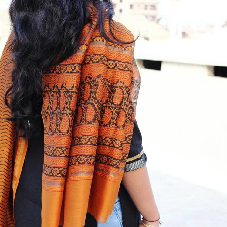 orange chanderi dupatta with block print 1