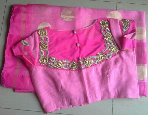 pink kota sarees with back high nck net blouse