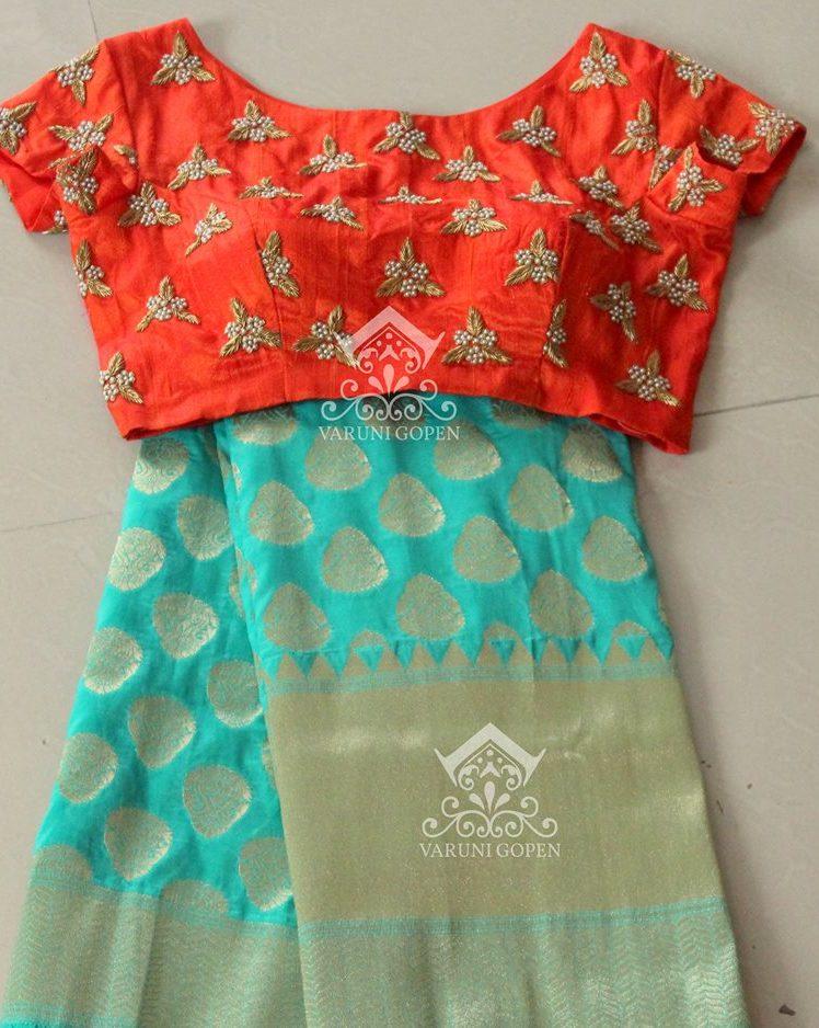 cyan blue benaras saree with designer blouse from varuni gopen collections