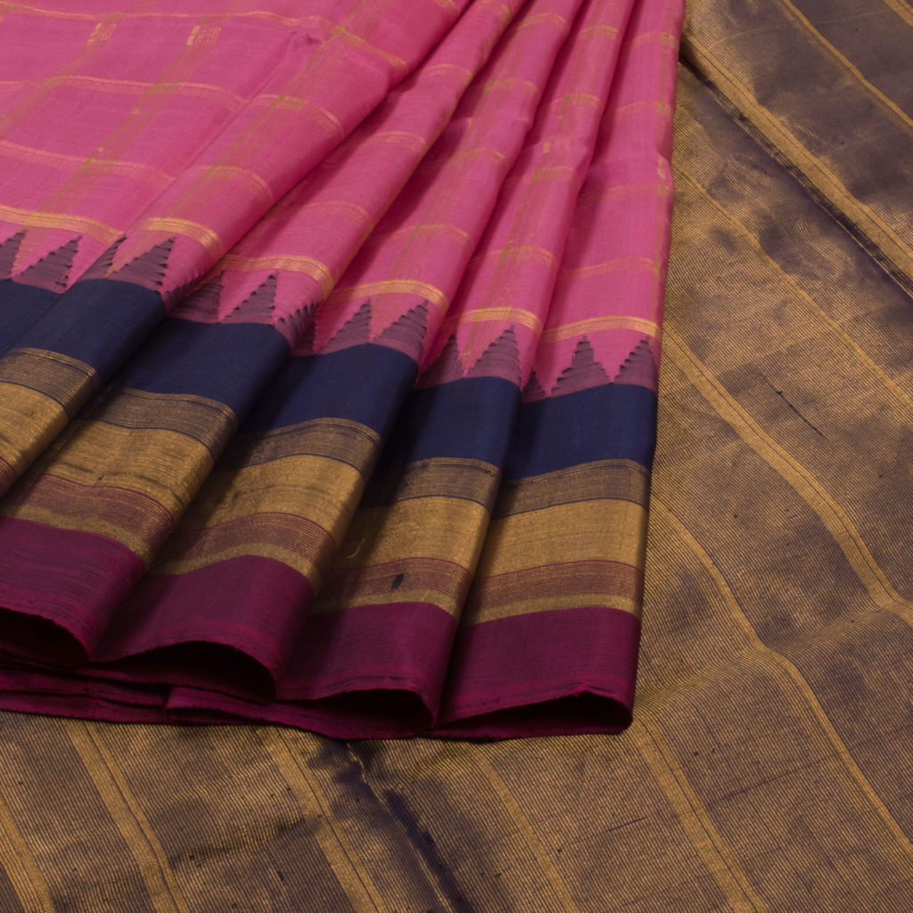 Pink Handwoven Gadwal Silk Saree with Checks and Temple Border from Venkie Reddy