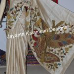 Pen Kalamkari Patch Work on Desi Off White Tussar Silk Saree