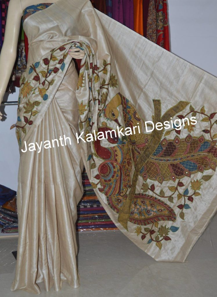 pen kalamkari patch work saree on desi tussar 1