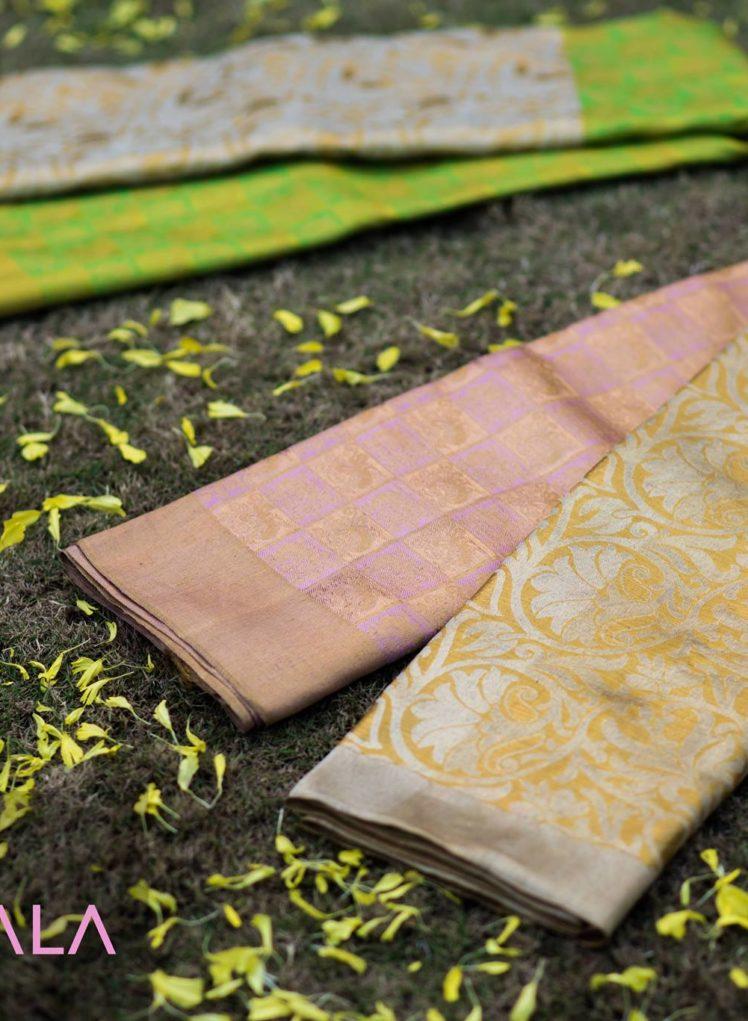 pastel pink kanchipuram silk saree with silver and gold zari zamindari border from kankatala