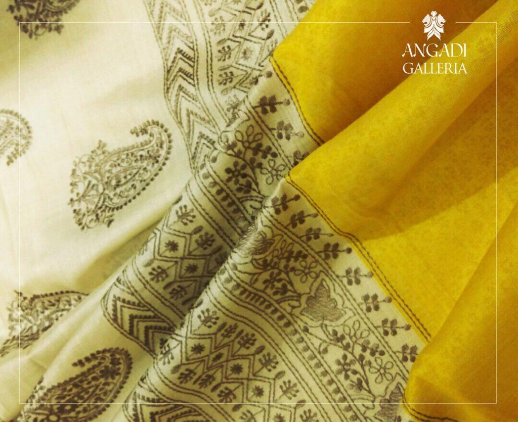 yellow tussar silk saree with chicankari embroidery from angadi galleria bangalore