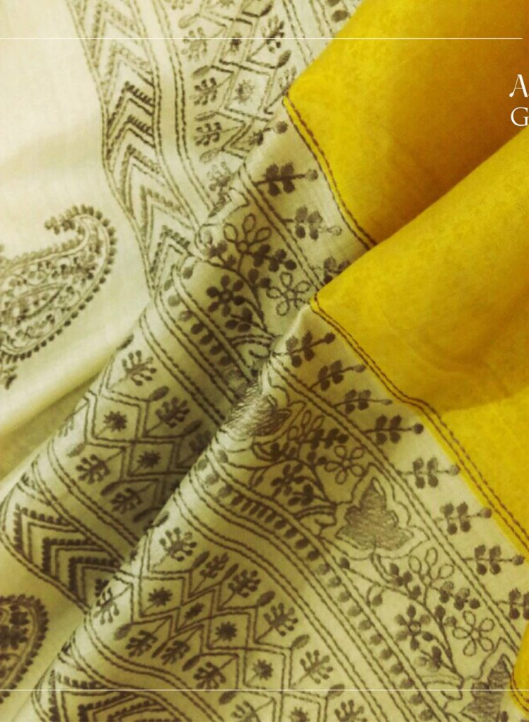 yellow tussar silk saree with chicankari embroidery from angadi galleria bangalore