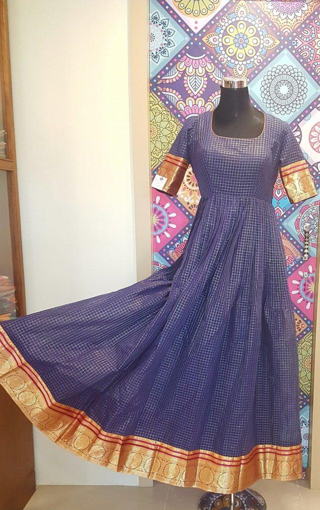 blue chanderi silk anarkali with pattu border