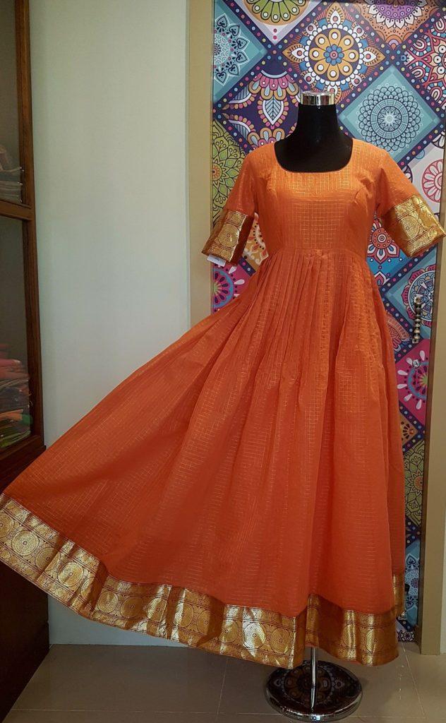 orange chanderi silk anarkali with pattu border