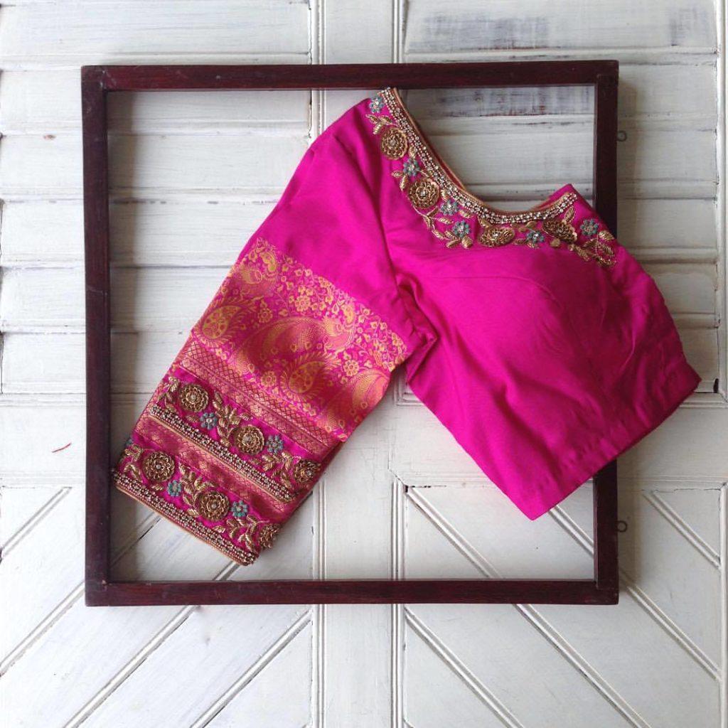 Pink kanjivaram designer blouse from nyshka design studio