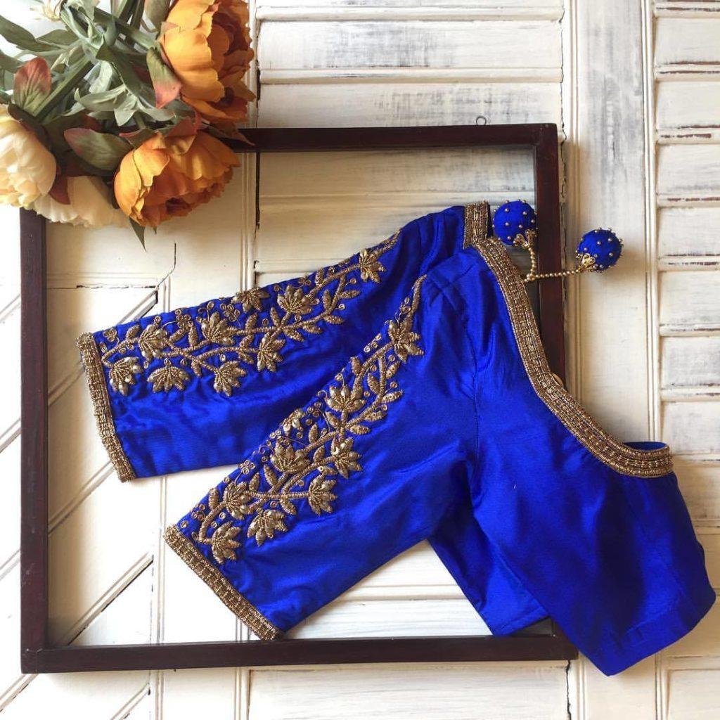 blue handwork designer blouse from nyshka design studio