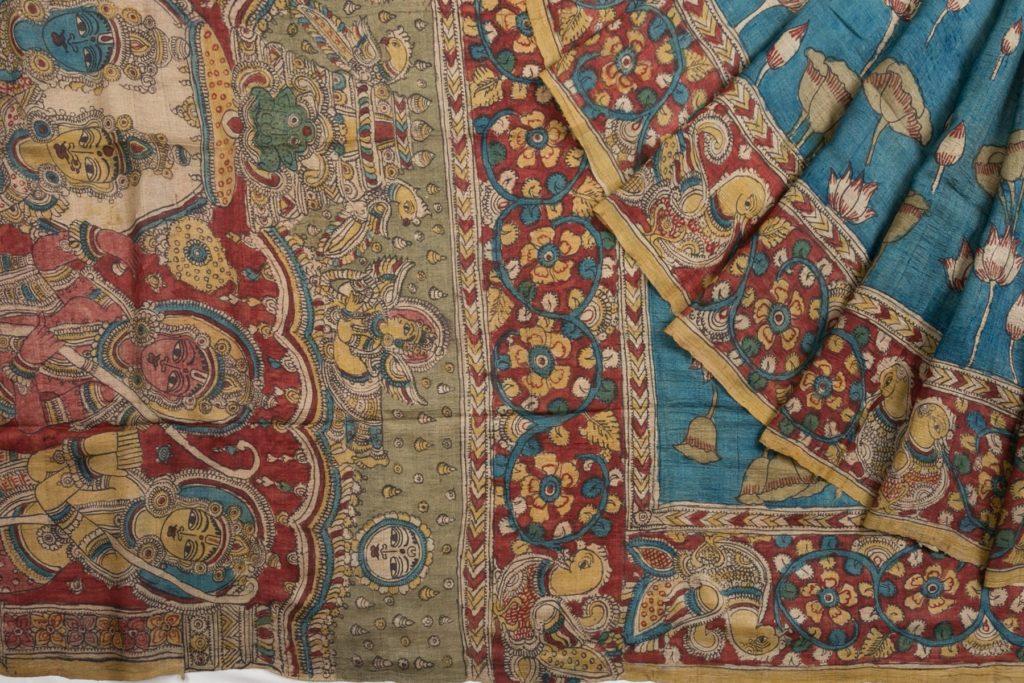 blue kalamkari tussar silk saree from kankatala