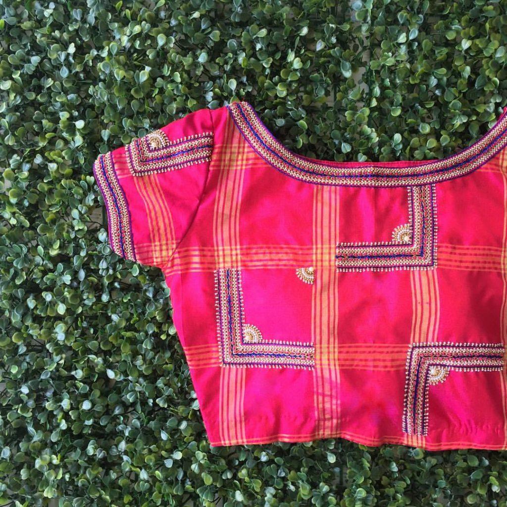 checks designer blouse from nyshka design studio