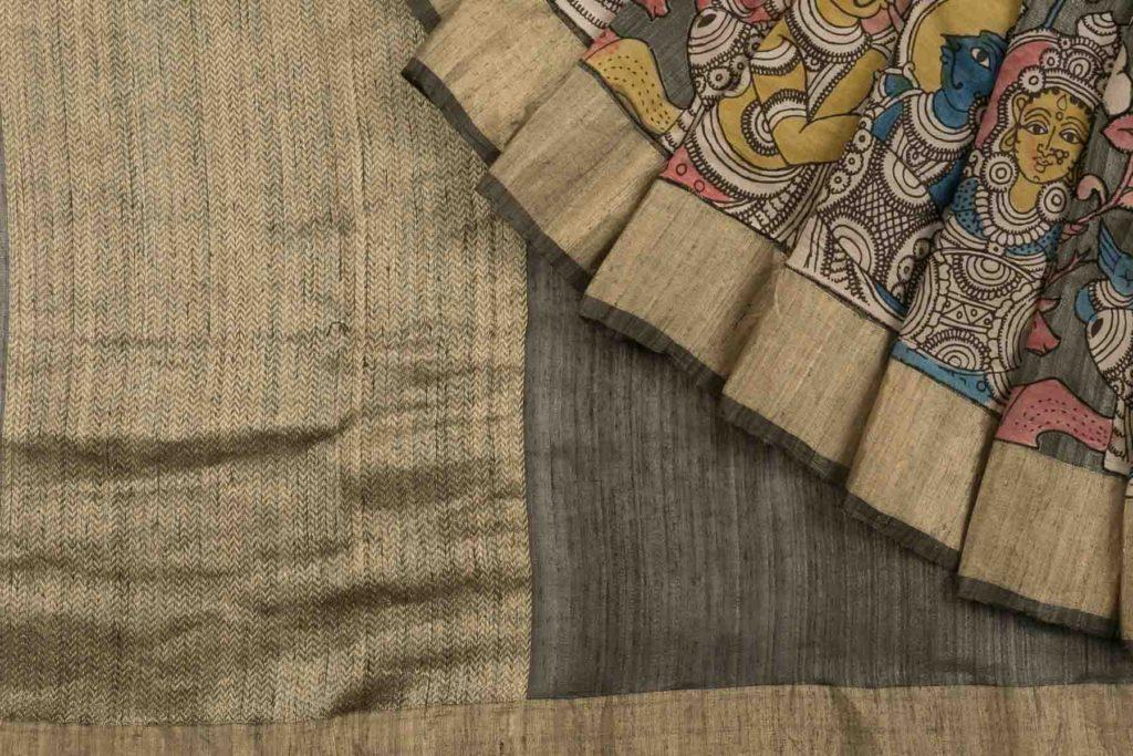 grey kalamkari tussar silk saree from kankatala