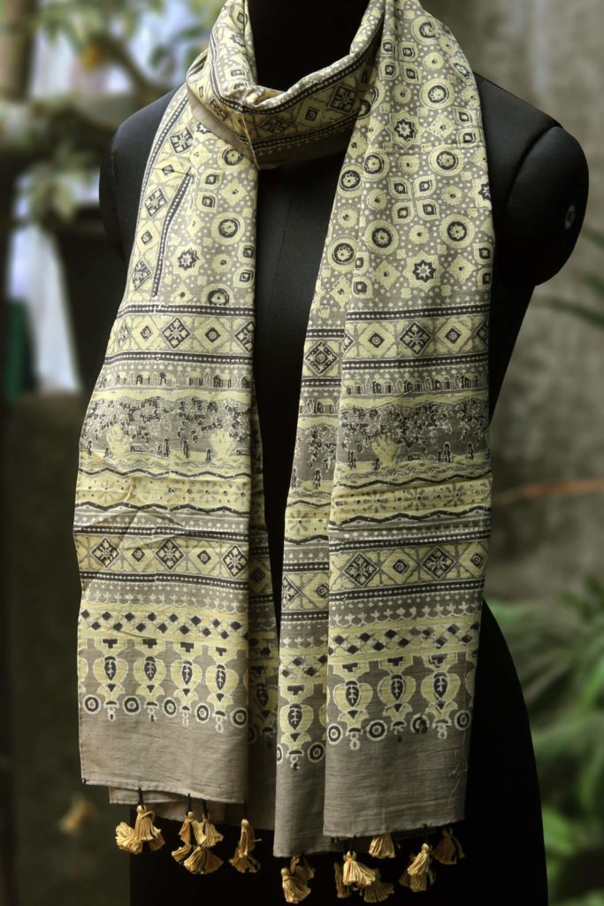 grey yellow cotton ajrakh dupatta from maati crafts