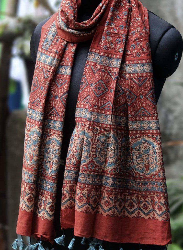 indigo red cotton ajrakh dupatta from maati crafts
