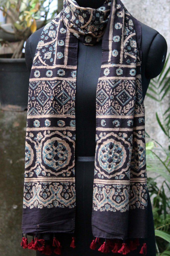 iron black cotton ajrakh dupatta from maati crafts