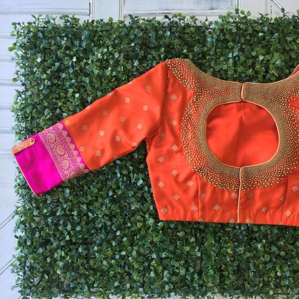 orange kanjivaram designer blouse from nyshka design studio