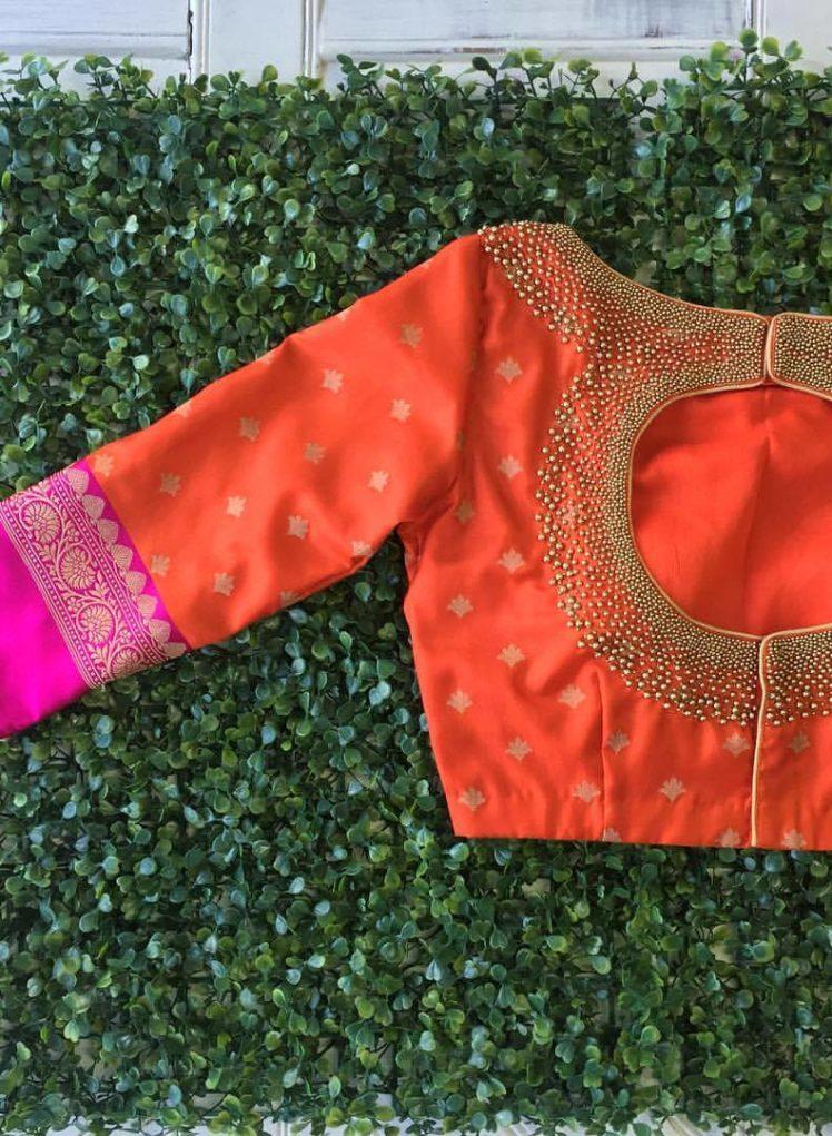 orange kanjivaram designer blouse collection from nyshka design studio