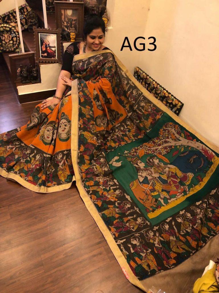 pen kalamkari cotton sarees 4