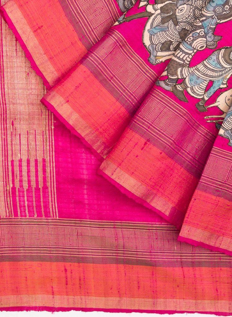 pink kalamkari tussar silk saree from kankatala