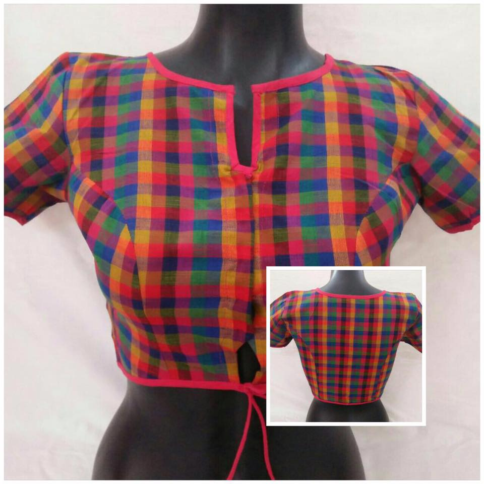 readymade blouse with checks from anagha
