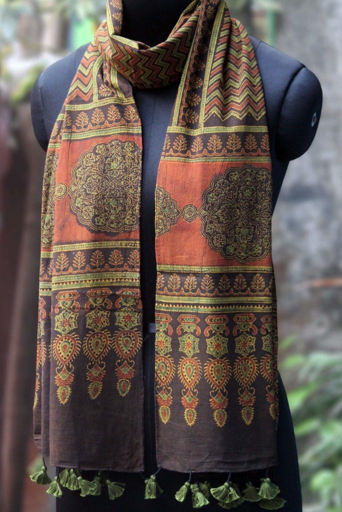 rust black cotton ajrakh dupatta from maati crafts