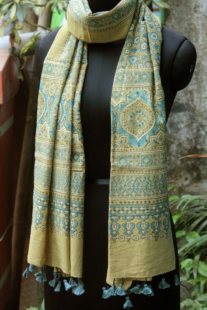 vintage yellow cotton ajrakh dupatta from maati crafts