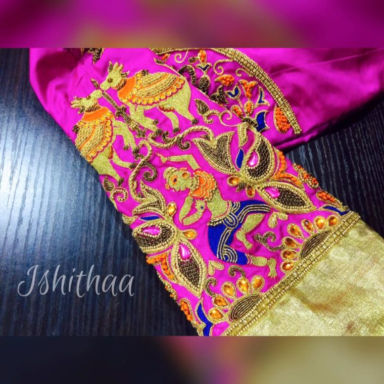bulls and dancing girl embroidery designer blouse from ishitaa boutique