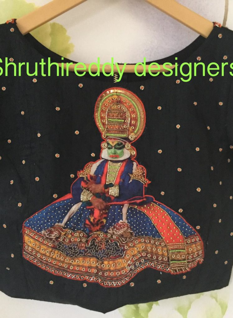 hand painted designer blouse from shruthi reddy designers
