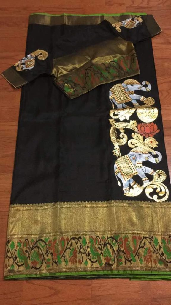 painted ikat silk saree paired with painted blouse 1