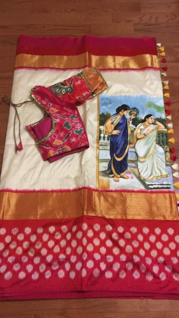 painted ikat silk saree paired with painted blouse
