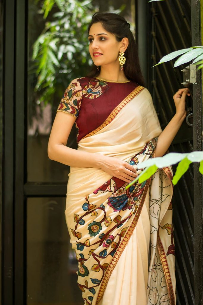 pure cream pure crepe saree with handpainted kalamkari cross pallu