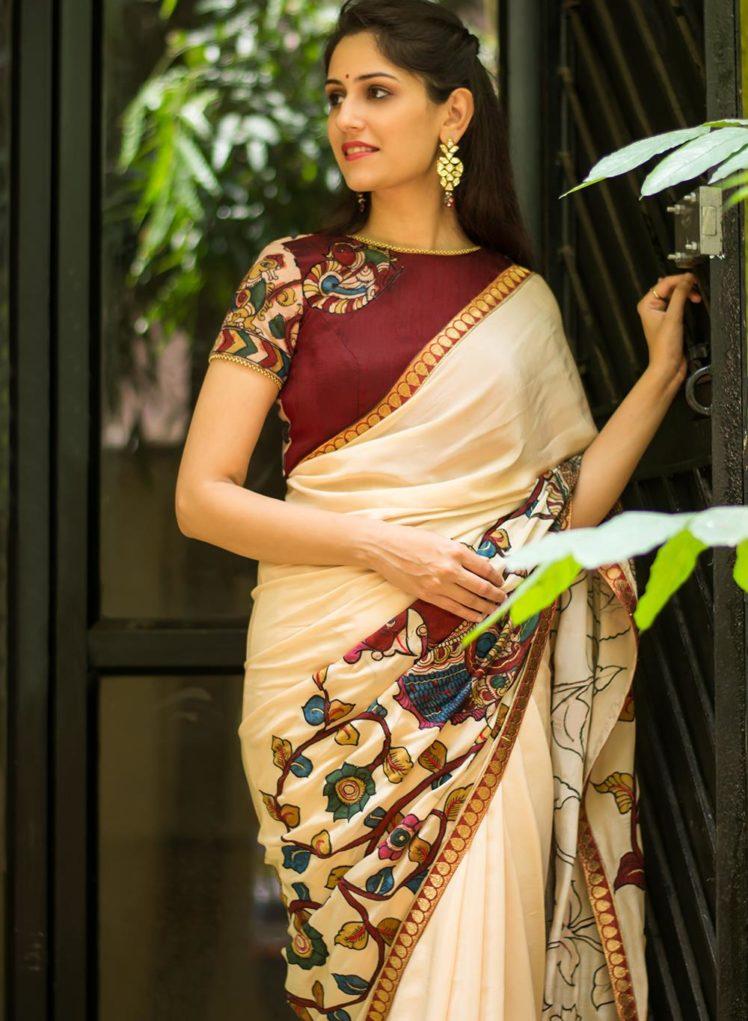 pure cream crepe saree with handpainted kalamkari cross pallu