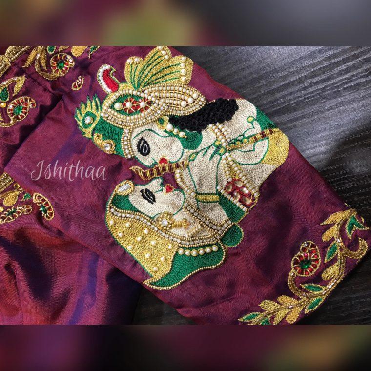 radha krishna embroidery designer blouse from ishitaa boutique