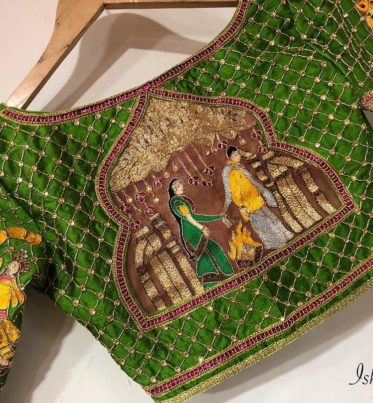 south indian mandap embroidery desginer blouse from ishitaa boutique