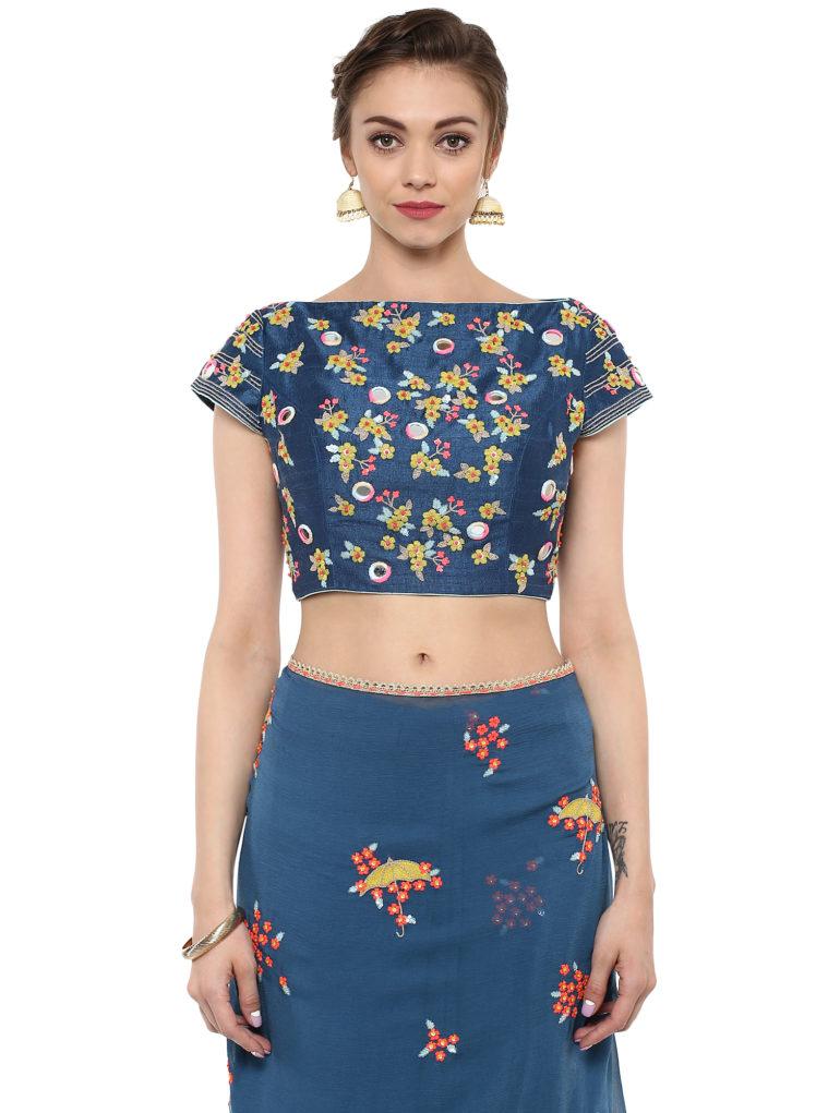 blue umbrella embroidered designer saree from lovesummer collection