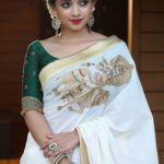 Off-White Handloom Saree with Krishna Embroidery from Laksyah