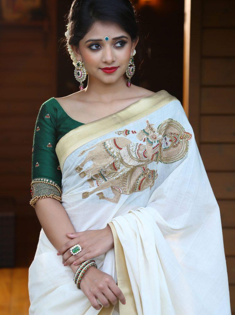 handloom saree with krishna embroidery