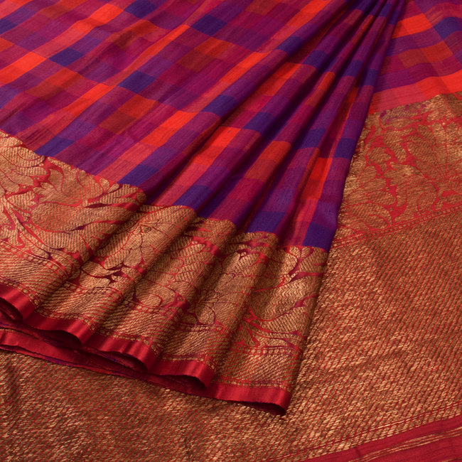 orange and purple handwoven banarasi kadhwa tussar silk saree