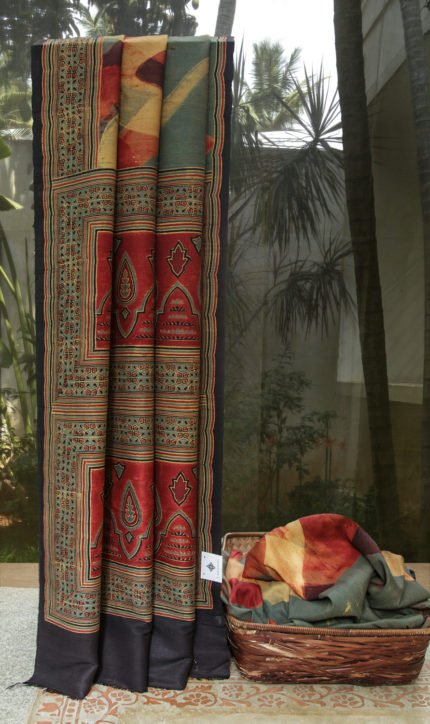 handmade ajrakh dupion silk saree from lakshmi 1